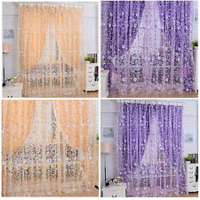 Print Floral Voile Door Sheer Window Curtains Room Curtain Divider 100X200CM