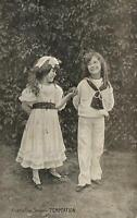 VINTAGE YOUNG GIRL GIVE APPLE to YOUNG BOY TEMPTATION Australian Series POSTCARD