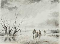 Ausflug auf vereistem Küstengewässer, 19. Jahrhundert, Aquarell