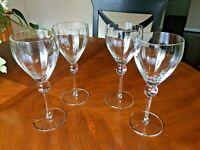 "Four (4) Crystal Balloon Paneled Wine Glasses Ball Stems  8 3/8"" BEAUTIFUL!"