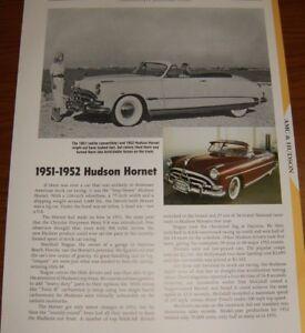★★1951-52 HUDSON HORNET SPECS INFO PHOTO 51 308 1952★★