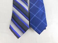 Lot 2 Calvin Klein Ties - Carbon Stripe, Cable Window Pane - Blue - Silk #1963