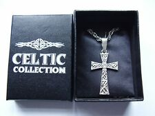 Celtic Collection Celtic knot high cross pendant 18 inch chain necklace boxed