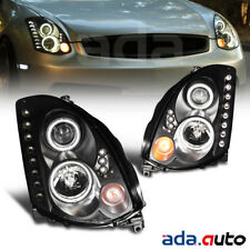 For 2003-2007 Infiniti G35 Coupe [CCFL Halo] Projector Black Headlights Pair