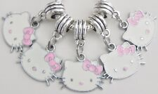 5 Hello Kitty Pink Bow Charms Fit European Style Jewelry 20 * 32 & 5mm Hole HK06