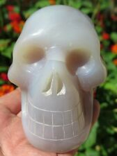 1LB 2.5OZ Fantastic Natural Agate Crystal Carving Art Skull