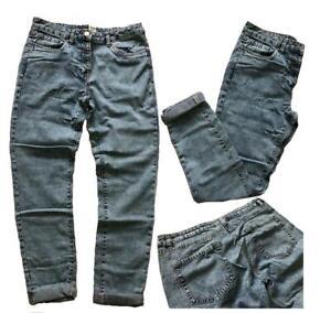 NEXT Womens Jeans Mid Wash Blue Denim High Rise RELAXED BOYFRIEND Jeans 6 - 20