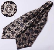 Gold Cravat Navy Blue Paisley Silk Scarves Ascot FREE Hanky Handkerchief - AS1