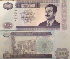 IRAQI IRAQ SADDAM HUSSEIN 2002 100 DINAR UNC BANKNOTE P-87 FROM A USA SELLER !!