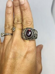 1976 GREENE, High School Mens .925 Sterling Silver Red Ruby Ring Sz 11.75 - 17g