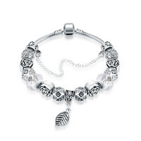 18K White Gold Plated Crystal Charm Leaf  Bracelet Made with Swarovski Elements
