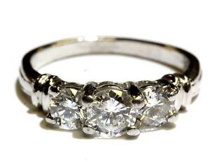 Platinum .93ct diamond 3-stone wedding band ring 5.1g estate vintage