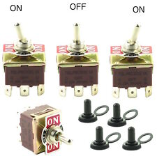 (4) Toggle Switches w Waterproof Boots 32A 250VAC 3P 9 Spade Terminal On/Off/On