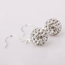 Silver Plated Crystal Disco Ball Shamballa Rhinestone 10MM Drop Earrings