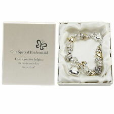 """Amore Silver/Gold Charm Bracelet """"Bridesmaid"""" -WEDDING BOXED GIFT!"""
