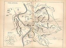 1880 print ~ carte de Roma Antiqua ~ ROME ANTIQUE
