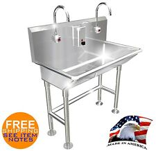 """HAND WASH SINK 2 STATION 40"""" ELECTRONIC FAUCET FREE STANDING MADE IN AMERICA"""