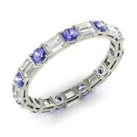 1.96 Ct Diamond Tanzanite Engagement Eternity Band 14K Real White Gold Ring Size