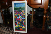 Original Haitian Island Oil Painting On Canvas Signed Junn Colorful People