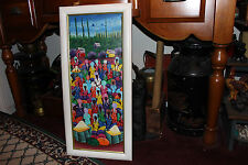 Superb Haitian Island Oil Painting On Canvas-Signed Junn-Colorful People-LQQK