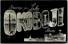 LAKE OKOBOJI Iowa Large Letter Postcard RPPC Real Photo Amusement Park 1957