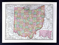 1895 McNally Map - Ohio - Cleveland Columbus Cincinnati Youngstown Toledo Athens