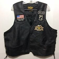 Vtg Leather Biker Vest Mens 48 Black Side Lace Extender Chain HOG Harley Patches