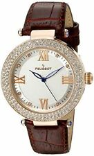 Peugeot Women's Luxury 14k Rose Gold Plated Leather Dress Watch