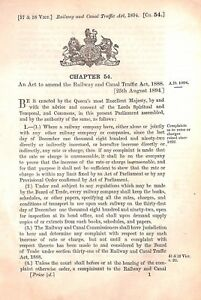 Act of Parliament.1894.Railway and Canal Traffic Act.Commissioners.Railway