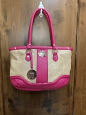 Bodhi Pink Leather And Straw Zippered Tote Handbag