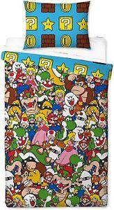 Single Bed Duvet Cover Set Super Mario Gang Reversible Gamer Bedding