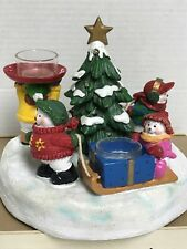 Yankee Candle Snowmen Lighted Christmas Tree 3 Tea Light Candle Holder