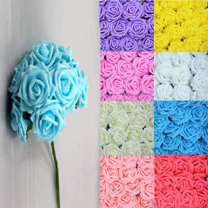 50pcs Artificial Foam Roses Flower Wedding Bridal Bouquet Party Decor DIY B108