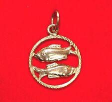 NEW Pisces 9ct Yellow Gold Zodiac Pendant 375 Horoscope Charm Fish 9KT Carat