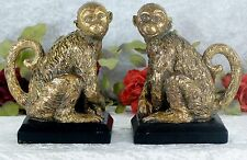 Skulptur Affe Affen Set  Figur Tierfigur Afrika Buchstütze Deko Monkey 19 cm