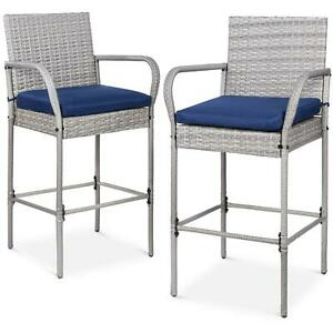 Wicker Bar Stools Long Armrest With Footrest Patio Furniture Set Of 2 Multi New