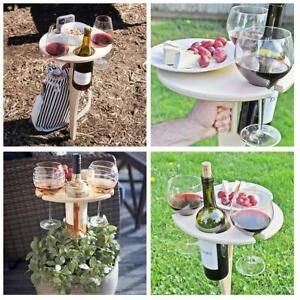 Weintisch im Freien mit faltbarem rundem Desktop-Mini-Picknick aus Holz