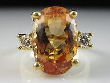 18K Imperial Topaz Diamond Ring Yellow Gold Estate Oval Fine Jewelry Size 5.75