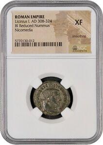 ROMAN EMPIRE LICINIUS I - BI REDUCED NUMMUS - NICOMEDIA - NGC XF - FREE SHIPPING