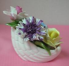 RADNOR English Bone China 4 FLOWER BOUQUET in a SHELL BASKET Staffordshire