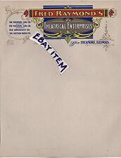 1916 Sycamore ILLinois FRED RAYMOND THEATRICAL ENTERPRISES Vaudeville Letterhead