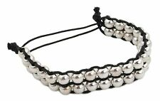 Zest Beaded Friendship Cord Bracelet Silver & Black