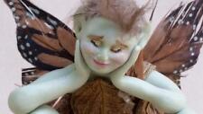 Green Garden Fairy Sculpture / Figure, OOAK - Texas Artist Signed Original, 90's