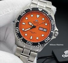Orient Ray Raven II Mens Automatic 200M Orange Dial Watch FAA02006M9 Brand New