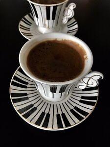 Coffee Cups Turkish Coffee (Espresso) Set Porcelain 2 cups & 2saucers-piano Desg