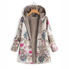 Fashion Womens Winter Thick Outwear Floral Print Hooded Warm Pockets Coat Jacket
