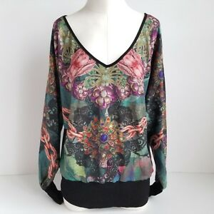 Smash Yaqui Sweater Womens L Chain Floral Long Sleeve V Neck - Brand New