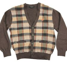 INDIAN Return To Nature Men's Cardigan Sweater Hipster Brown Plaid • SMALL | 95