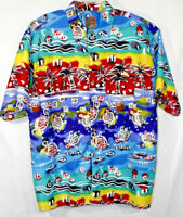 Pineapple Connection Large Shirt Short Sleeve Button Front Hawaiian Multicolors