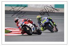 ANDREA DOVIZIOSO & VALENTINO ROSSI SIGNED PHOTO PRINT AUTOGRAPH MOTO GP